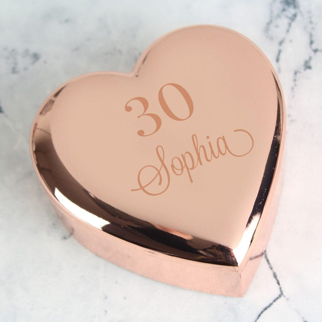 plushbarn personalised gifts for her Personalised Big Age Rose Gold Heart Trinket Box