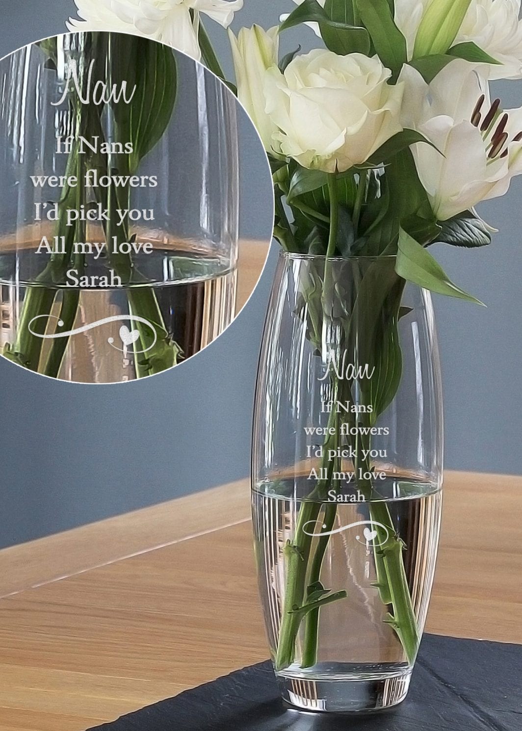 plushbarn personalised gifts glass vase
