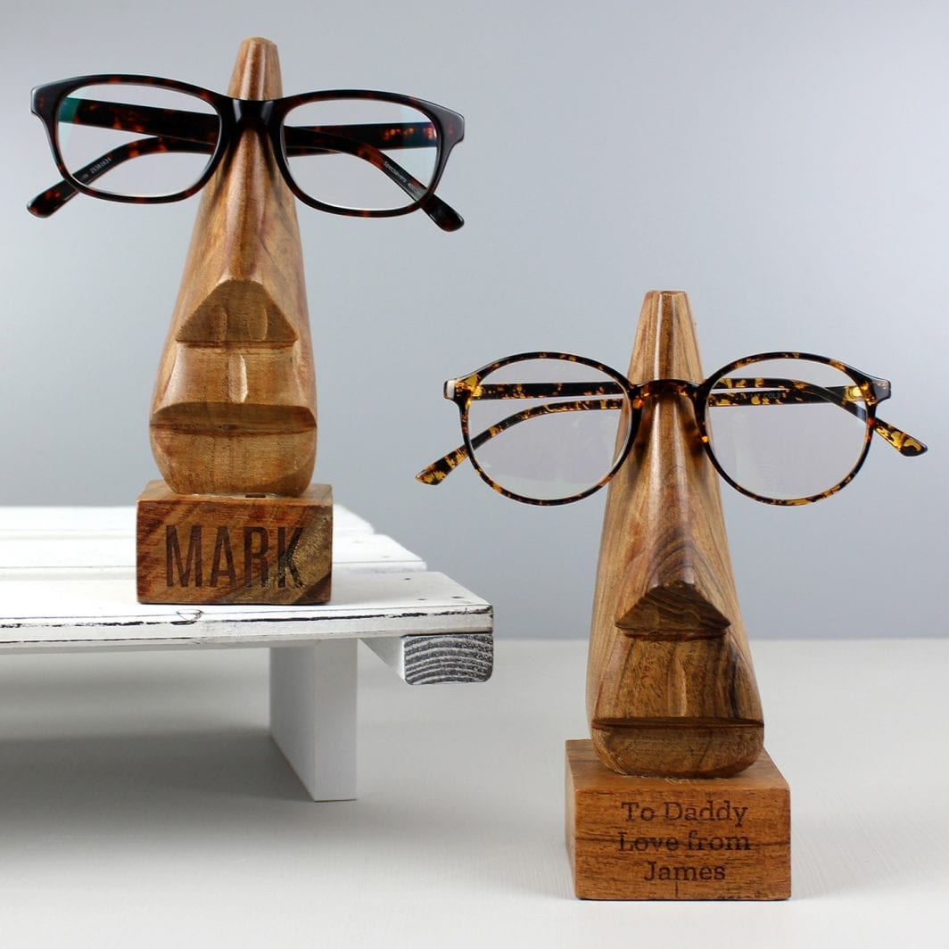 plushbarn personalised gifts for him Personalised Wooden Nose-Shaped Glasses Holder