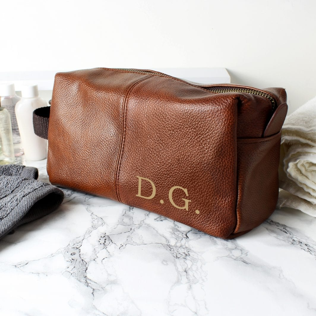 plushbarn personalised gifts for him Personalised Luxury Initials Brown Leatherette Wash Bag