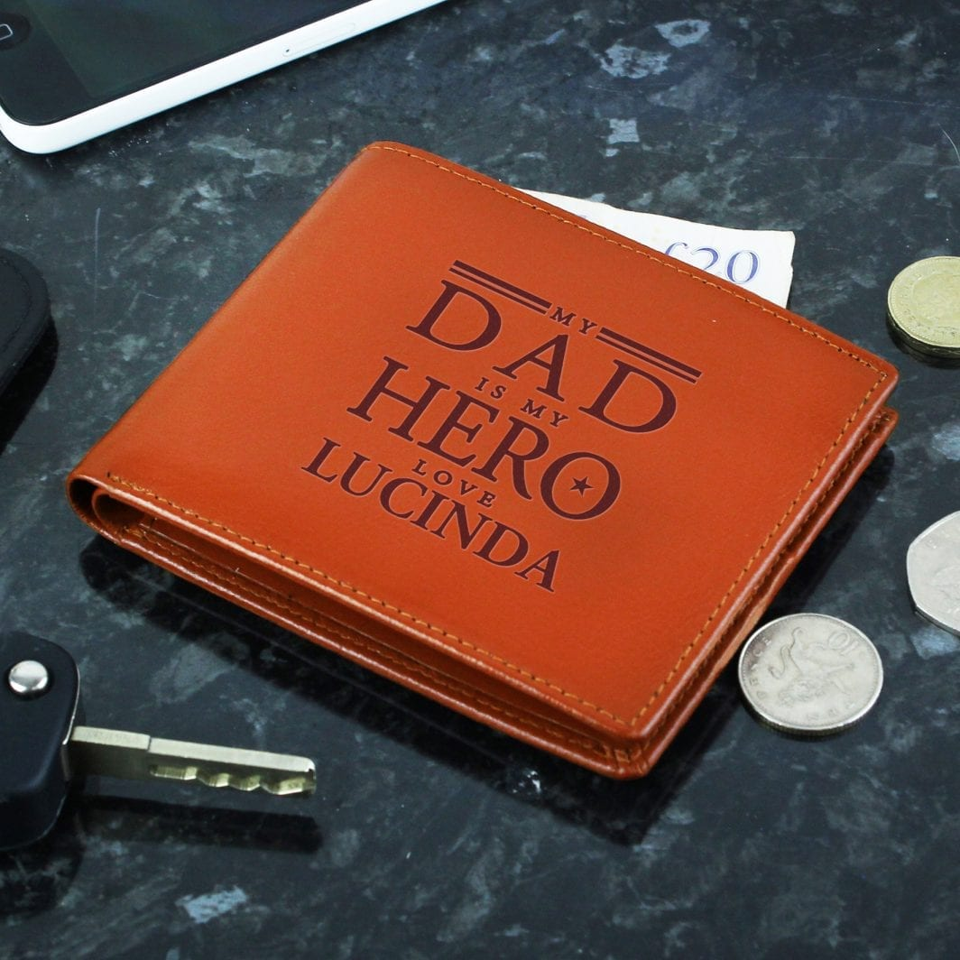 plushbarn personalised gifts for him Personalised My Dad is My Hero Tan Leather Wallet